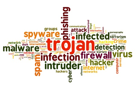 Trojan concept in word tag cloud on white background photo