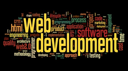 css: Web development concept in word tag cloud on black background