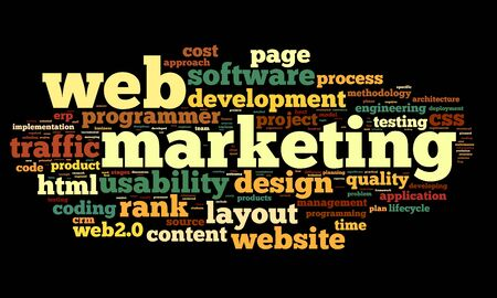 content page: Web marketing concept in word cloud on black background Stock Photo