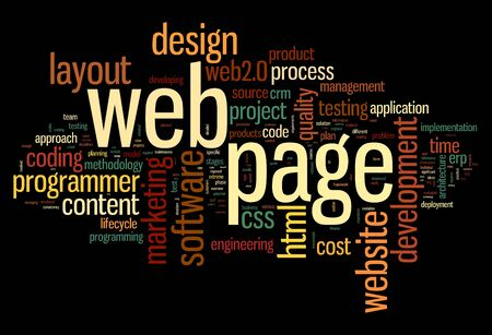Web page concept in word tag cloud on black background Stock Photo - 15776494