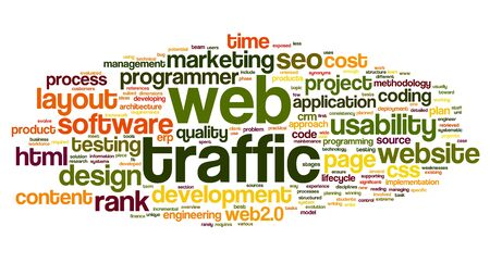 website traffic: Web traffic concept in word tag cloud on white
