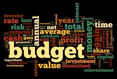 recession: Budget concept in tag cloud on white