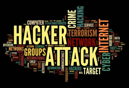 computer hacker: Hacker attack concept in word tag cloud isolated on black background Stock Photo