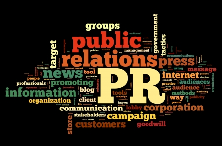 Public relations concept in word tag cloud on black background Stock Photo - 15776488
