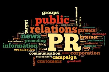 relaciones publicas: Relaciones p�blicas en concepto de nube de la palabra etiqueta en fondo negro Foto de archivo