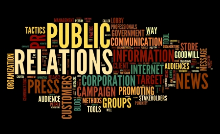 pr: Public relations concept in word tag cloud on black background