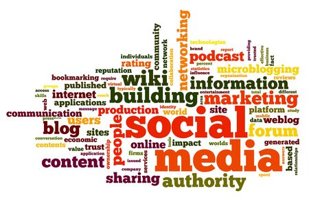Social media concept in word tag cloud on white Stock Photo - 15776536