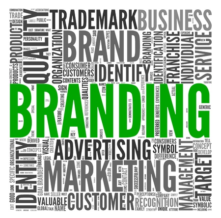 brand label: Branding and marketing concept in word tag cloud on white Stock Photo
