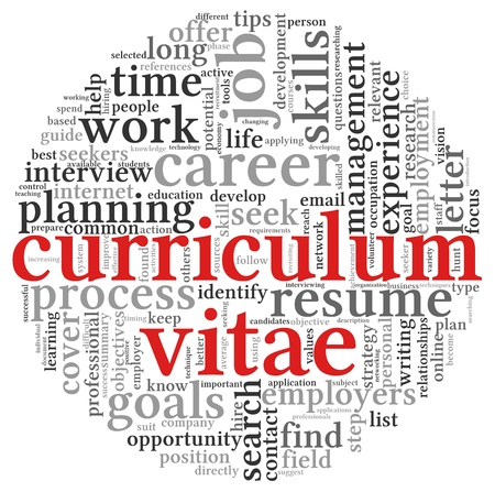 Curriculum vitae CV concept in word tag cloud on white background