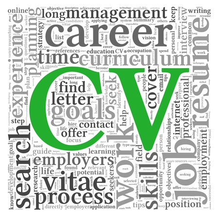 CV Curriculum vitae concept in word tag cloud on white background photo