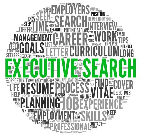 executive search: Executive search concept in word tag cloud on white background