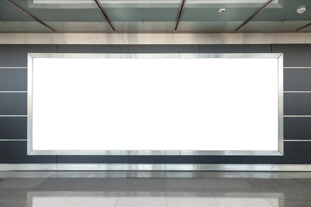 Blank billboard in modern interior hall
