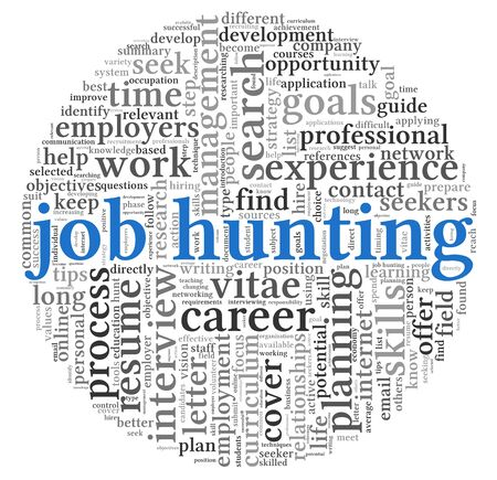 Job hunting concept in word tag cloud on white background photo