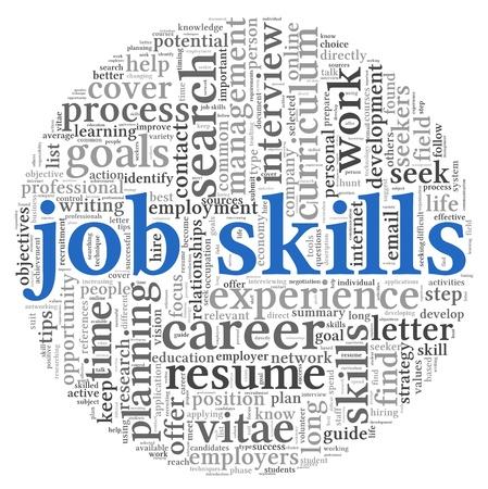 competencias laborales: Habilidades de trabajo en concepto de nube de la palabra etiqueta en el fondo blanco
