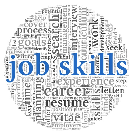 Job skills concept in word tag cloud on white background photo