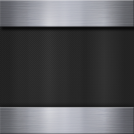 reflective background: Carbon fibre texture and aluminum metal plate