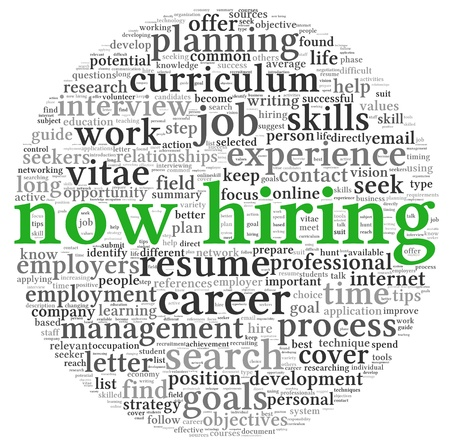 job opportunity: Now hiring and job search concept in word tag cloud on white background Stock Photo