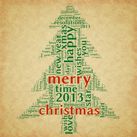 Merry christmas 2013 greeting card in tag cloud on old paper Stock Photo - 15891097