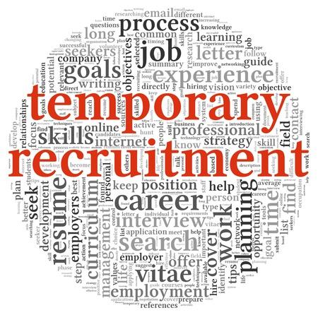 Concepto de contratación temporal en la nube de palabra de la etiqueta en el fondo blanco Foto de archivo
