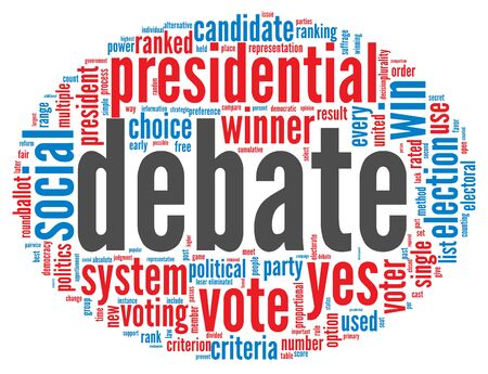 debate win: Presidential debate concept in word tag cloud on white background Stock Photo