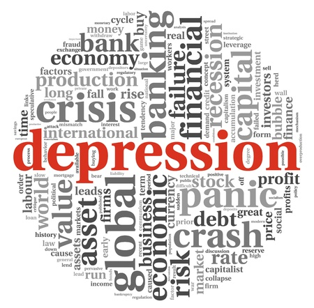 recession: Depression and crisis concept in info-text graphics on white background