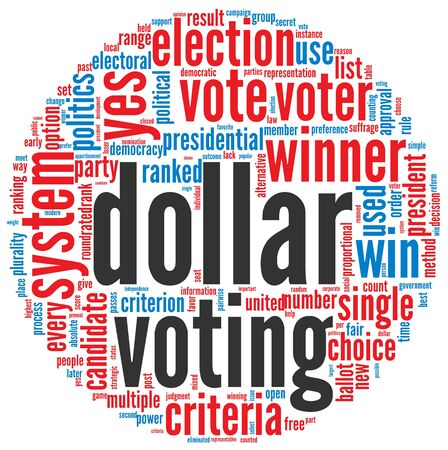 Dollar voting concept in word tag cloud on white background Stock Photo - 16048177