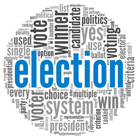 election debate: Presidential debate concept in word tag cloud on white background Stock Photo