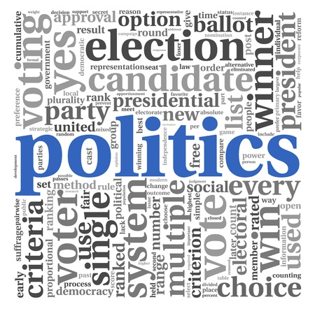 political system: Politics and election concept in word tag cloud on white background Stock Photo