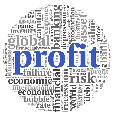 upturn: Profit and financial risk concept in info-text graphics on white background