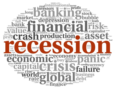 recession: Global crisis concept in info-text graphics on white background Stock Photo