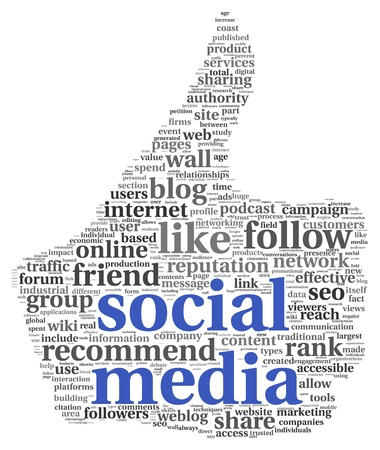 conept: Social media conept in thumb up symbol on white background Stock Photo