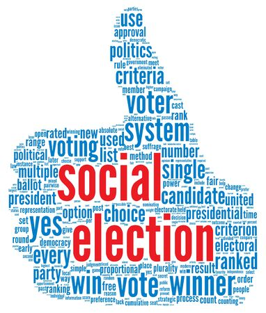 Social election concept in word tag cloud on white background Stock Photo - 16048179