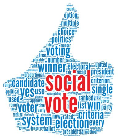 Scoail media vote  concept in word tag cloud on white background Stock Photo - 16048209