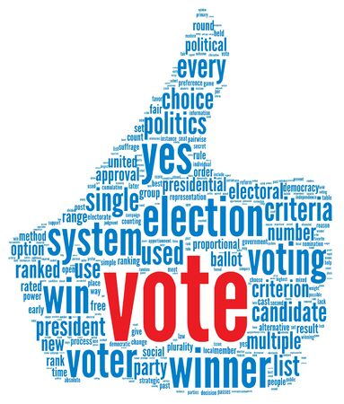 debate win: Vote in presidential election concept in word tag cloud on white background