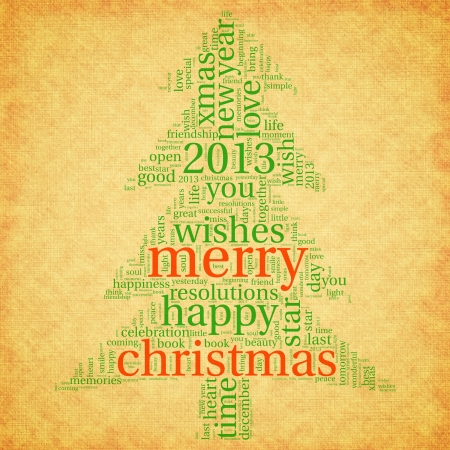 Merry christmas 2013 greeting card in tag cloud on old paper Stock Photo - 16048185