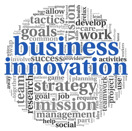 Business innovation concept in word tag cloud on white background Stock Photo