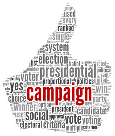 debate win: Campaign for president concept in word tag cloud on white background