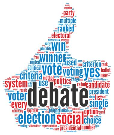 Presidential debate concept in word tag cloud on white background Stock Photo - 16212576