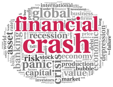stock market crash: Financial crash concept in info-text graphics on white background