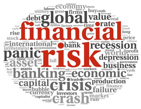 decline in values: Financial risk concept in info-text graphics on white background Stock Photo