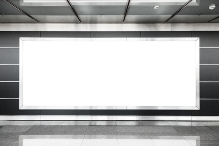 Blank billboard in modern interior hall photo