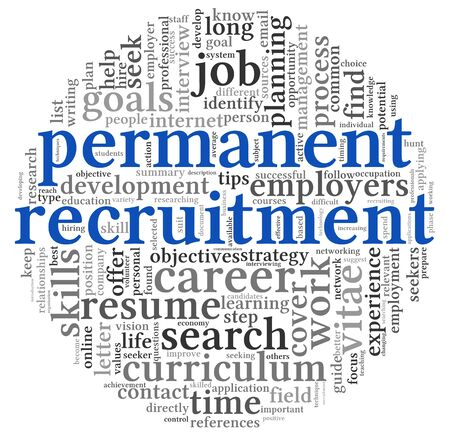 Permanent recruitment concept in word tag cloud on white background Stock Photo - 16212575