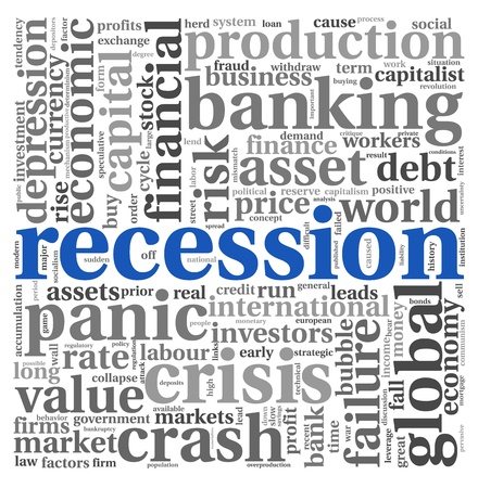 recession: Recession and crisis concept in wort tag cloud on white background Stock Photo