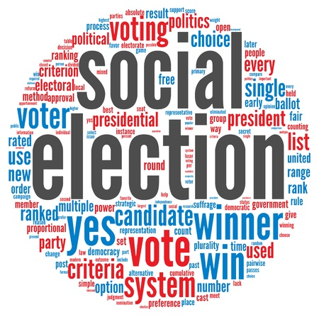 Social election concept in word tag cloud on white background Stock Photo - 16212578