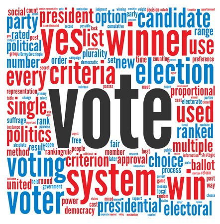 Vote in presidential elections concept in word tag cloud on white background Stock Photo - 16212580