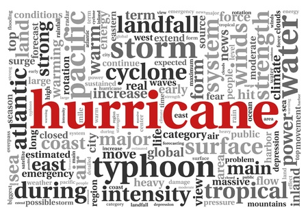 hurricane sandy: Hurricane concept in word tag cloud on white