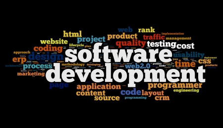 software development: Software development concept in tag cloud on black background