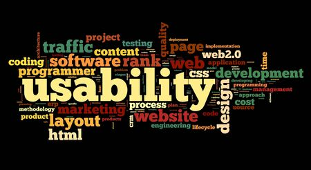 usability: Web usability concept in tag cloud on black background  Stock Photo