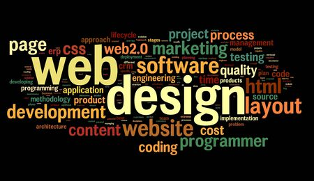website traffic: Web design concept in word tag cloud on black background