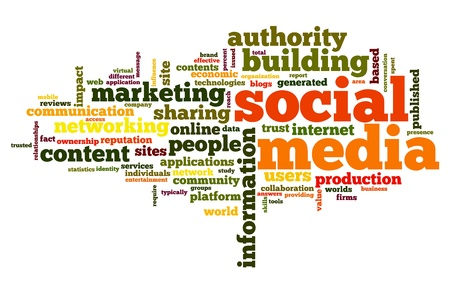 social media marketing: Social media concept in word tag cloud on white